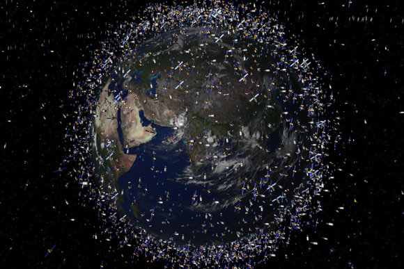 Artist's impression based on actual space debris data